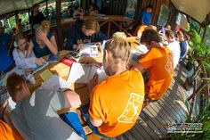 All on board the deck! Our bean house deck that is ;-p Hehe! It's a lovely afternoon of sun and some knowledge reviews need to be completed before our adventurers' can get into the water for the next portion of their PADI Open Water Diver course!