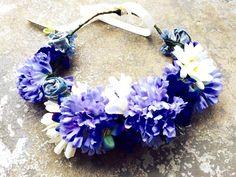 Flower crown silk and handmade felt and denim flowers blues