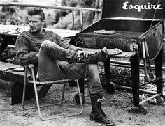 David Beckham grills out