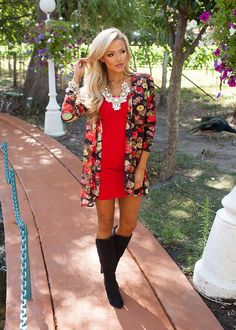 Online boutique. Best outfits. Immortal Beauty Floral Cardi Red - Modern Vintage Boutique