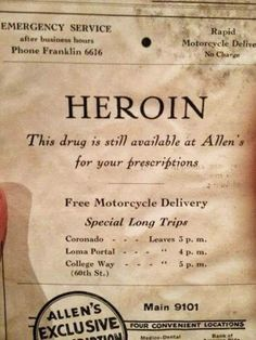 Retro Vintage Vintage newspaper ad for heroin. still available - Oddly Random. Vintage Humor, Funny Vintage Ads, Funny Ads, Vintage Posters, Retro Vintage, Vintage Quotes, Old Advertisements, Advertising, Newspaper Advertisement