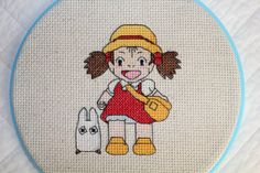 Mei and Chibi Totoro Cross Stitch Beaded Cross Stitch, Cross Stitch Rose, Counted Cross Stitch Patterns, Cross Stitch Designs, Cross Stitch Embroidery, Grandma Crafts, Stitch Character, Bead Studio, Stitch Witchery