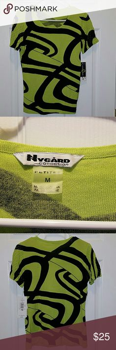 Nygard Lime green and blaxk sweater Sz. M/P NWT Nygard Lime green and blaxk sweater Sz. M/P NWT. This is a Petite sweater. Super cute  55% cotton 45% rayon Nygard  Tops