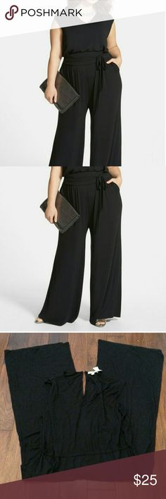Sejour wide leg V neck jumpsuit plus size Ready to go nearly anywhere in this sleeveless jumpsuit strikes the perfect balance of comfort and Polished in a billowy leg cut of soft Jersey, a sash wrapped waistband adds flattering definition to the silhouette, back Keyhole with Rouleau button closure, 2 front side pockets. 95% rayon 5% spandex, machine wash cold dry flat please note runs large the sash tie is missing although there is elastic at the waist you can probably use another type of…