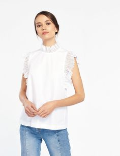 3ba86b6fecc Top With Lace On The Sleeves - Summer Collection - Sandro Paris Sandro