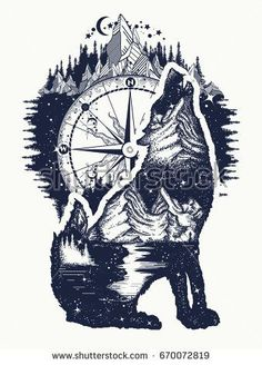 Wolf and mountains double exposure tattoo art. Symbol tourism, travel, adventure, outdoor. Wolf howls tattoo, mountain compass and night sky t-shirt design