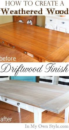 Furniture Makeover: Weathered Driftwood Furniture Finish. DIY instructions on how to create a lovely weathered wood driftwood finish for furniture from In My Own Style.