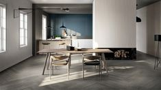 A touch of blue for a powerful living and kitchen rooms. Living Room Green, Living Room Modern, Home And Living, Living Room Flooring, Living Room Chairs, Living Room Decor, Dining Room, Ikea Hemnes Living Room, Wood Effect Porcelain Tiles