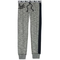 PINK Gym Pant ($55) ❤ liked on Polyvore featuring activewear, activewear pants, grey, pink sweatpants, grey sweat pants, lightweight sweatpants, grey sweatpants and gym pants
