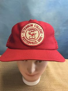 24bbf459256 Vintage Otterbein Cardinals Hat Cap Snap Back Mesh Ohio College USA Made