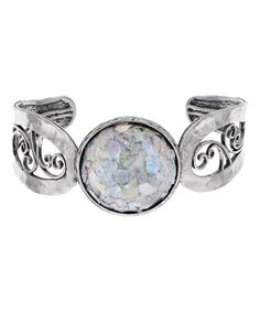 This Roman Glass & Sterling Silver Scroll Cuff is perfect! #zulilyfinds