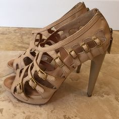 """Spotted while shopping on Poshmark: """"Lamb tan caged heels size 6.5""""! #poshmark #fashion #shopping #style #L.A.M.B. #Shoes"""