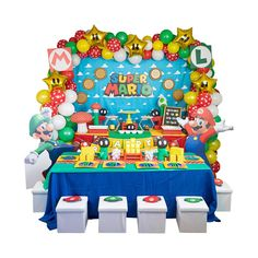 Super Mario Kids Table And Chairs, Kid Table, Super Mario Hat, Plastic Ware, Video Game Party, Favor Boxes, Party Hats, Balloons, Table Decorations