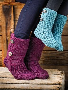 "New from Annie's Signature Collection: Your feet will stay warm all winter long with these cozy slipper socks!   You'll love walking around the house in these comfy, cozy slipper socks. Make a pair for yourself and your kids -- in everyone's favorite colors, of course -- and embellish with fun buttons that fit their personalities! Made with 1 hank for the women's and (2, 2, 3) hanks of Berroco® Vintage® Chunky yarn for the child's at a gauge of 18 sts and 23 rows per 4"" using a set of 5 U.S…"