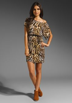 C CALIFORNIA Exotic Animal Split Sleeve Dress in Black Multi at Revolve Clothing