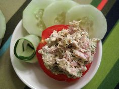 Tuna Salad on Tomato: When you're watching your carb counts, bread can be a major culprit. But bread doesn't have to be the only thing to build a sandwich on! The next time you whip yourself up a light tuna salad, serve it on tomatoes or cucumbers. Tuna is packed with protein and iron, and the veggies will give the snack added vitamins and nutrients.