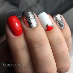 42 New Ideas For Nails Red Valentines Silver Red And Silver Nails, Red Nails, Hair And Nails, Red Summer Nails, Silver Nail Designs, Gel Nail Designs, Holiday Nails, Christmas Nails, Queen Nails