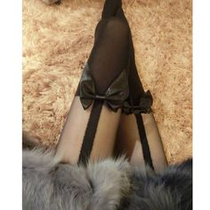 Women 2016 Tights Bow Pantyhose Tattoo Mock Bow Suspender Sheer Stockings #Unbranded #Pantyhose