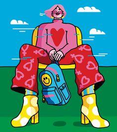 Future so bright — Studio Xaviera Altena People Illustration, Illustration Art, Illustrations, Arte Gcse, Doodles Bonitos, Arte Lowbrow, Image Deco, Hippie Art, Psychedelic Art