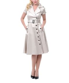 Embrace vintage-inspired charm with this striking dress. Military details like crisp tailoring and epaulettes at the shoulders give it commanding style, for a look that brings together the best of fashions past and present. Pin Up Outfits, Dress Up Outfits, Fashion Outfits, Fashion Ideas, Summer Outfits, Dress Skirt, Wrap Dress, Military Dresses, Khaki Dress