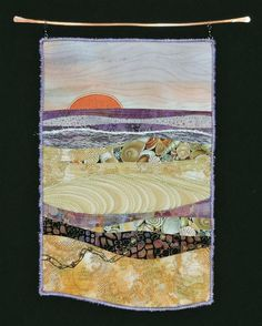 Seaside. Small art quilt by Eileen Williams