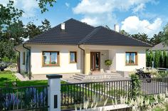 DOM.PL™ - Projekt domu ARP FIGO CE - DOM AP1-72 - gotowy koszt budowy Bungalow Porch, Bungalow House Plans, 3d House Plans, Dream House Plans, One Storey House, Simple House Design, House In The Woods, Better Homes, Home Fashion