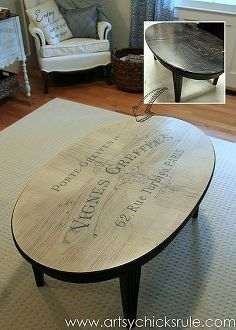 6 thrift store coffee table makeover french typography, chalk paint, diy, home decor, painted furniture, painting