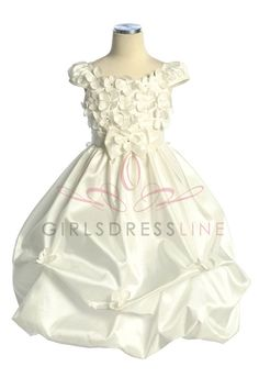 Ivory Taffeta Pick-up Bubble Hem Flower Dress with Cap Sleeves CD-572-IV $64.95 on www.GirlsDressLine.Com