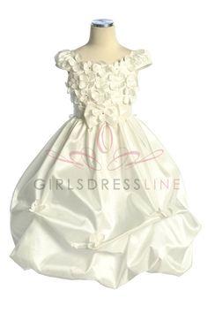 Smallest is 2T Ivory Taffeta Pick-up Bubble Hem Flower Dress with Cap Sleeves CD-572-IV $64.95 on www.GirlsDressLine.Com