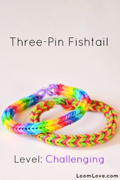 How-to: Make a Three Pin Fishtail Rubber Band Bracelet #rainbow #loom