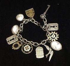 Steampunk charm bracelet keys cogs gears by SteampunkAllure, $32.00