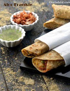 Aloo Frankie ( Wraps and Rolls) recipe - Aloo Frankie recipe Wrap Recipes, Other Recipes, Snack Recipes, Cooking Recipes, Veg Recipes, Party Recipes, Cooking Tips, Healthy Recipes, Indian Snacks