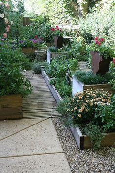 Kitchen garden - love the different levels