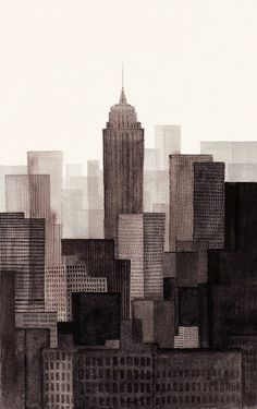 NYC! via Designbird. / nice geometric painting of buildings