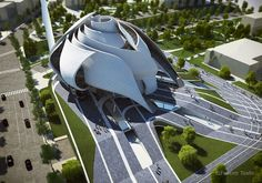 A mosque project to Tirana: The White Rose Festim Toshi Arcfly Futurism Architecture, Mosque Architecture, Landscape Architecture, Architecture Design, Organic Architecture, School Architecture, Amazing Buildings, Modern Buildings, Neo Futurism