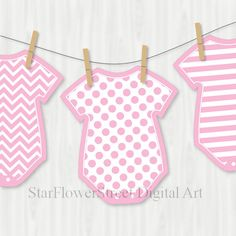 Printable Baby Shower Banner Onesie Cut Outs by StarFlowerStreetDA