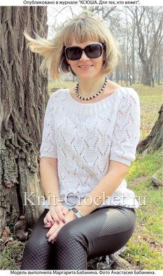 Женский пуловер реглан размера 42-44, связанный на спицах.