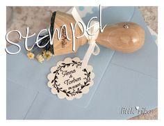 Stempel ROMANTIK mit Namen zur Hochzeit /Einladung von little.nika auf DaWanda.com