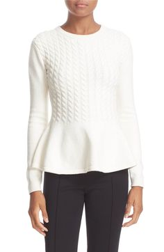 Main Image - Ted Baker London 'Mereda' Cable Knit Peplum Sweater