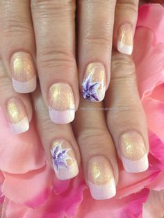 White+acrylic+tips+with+one+stroke+flower+nail+art