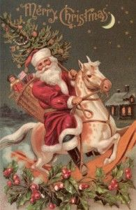 Victorian Santa Rides LuckyPalm.com, so many free vintage images!!!