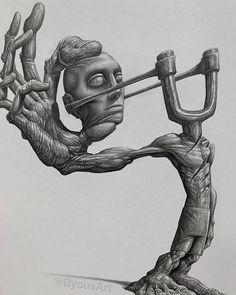 Illustration by Byous Badass Drawings, Dark Art Drawings, Art Drawings Sketches, Skull Drawings, Tattoo Drawings, Creepy Art, Weird Art, Arte Horror, Horror Art