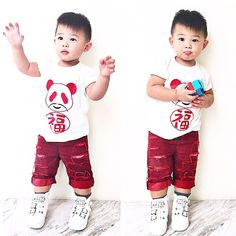 "#TBT to super cute petit Bubu rocking our #MÔMES ""Lucky Panda"" tee available at @babystyleicon #SGP He's too cute @tjinlee & we love this outfit featuring @dudleydenim's red distressed shorts #singapore#stockist#blogger#madetoorder#wholesale#organic#panda"