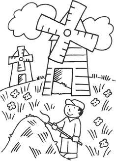 Kleurplaat: molens Farm Theme, Landscape Drawings, Mittens, Netherlands, Holland, Coloring Pages, Applique, School, Crafts