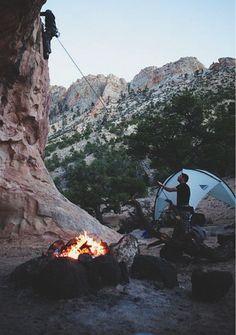 camping and rock climbing