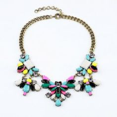 $11.74 Fashion Polychrome Faux Gemstone Pendant Alloy Necklace For Women