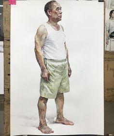 이미지: 사람 1명 Human Figure Sketches, Figure Sketching, Figure Drawing, Watercolor Artwork, Watercolor Artists, Watercolor Portraits, Portrait Sketches, Art Sketches, Art Drawings