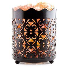 CRYSTAL DECOR Natural Himalayan Salt Lamp with Salt Chunks in Cylinder Design Metal Basket and Dimmable Cord - Flanigan Design