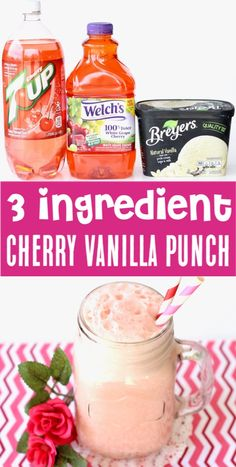 Pink Punch Recipe for Birthday Party or Baby Shower – Cherry Vanilla Punch! {Just 3 Ingredients} Pink Punch Recipe for Birthday Party or Baby Shower. Pink Punch Recipes, Party Punch Recipes, Easy Drink Recipes, Fruit Recipes, Yummy Drinks, Smoothie Recipes, Smoothies, Juice Recipes, Pink Baby Shower Punch
