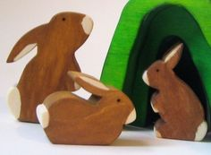Wooden Bunny Rabbit Family- Eco-friendly Wooden Toy- Easter. $32.00, via Etsy.